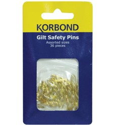 Korbond Gilt Safety Pins