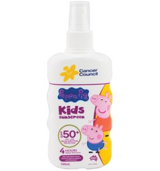 Cancer Council Kids Peppa Pig Finger spray Spf50+ 200ml