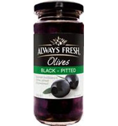 Always Fresh Pitted Black Spanish Olives 220gm
