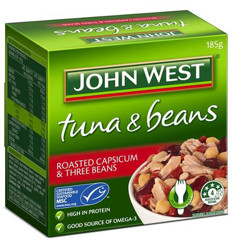 John West Roasted Capsicum & Three Beans Tuna & Beans 185gm
