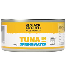 Black & Gold Tuna Chunks In Springwater 185g