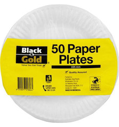 Black & Gold Paper Plates 225mm 50s