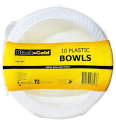 Black & Gold Plastic Bowls 18mm 10s