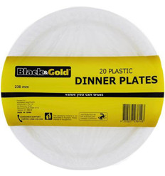 Black & Gold Plastic Dinner Plates 23mm 20s