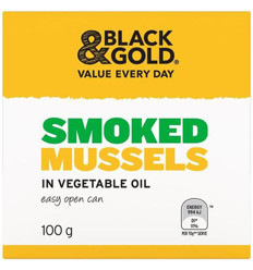 Black & Gold Smoked Mussels 100gm x 24