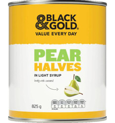Black & Gold Pear Halves In Light Syrup 825gm