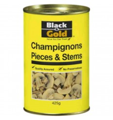 Black & Gold Mushroom Pieces & Stems Canned 400gm