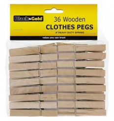 Black & Gold Wooden Clothes Pegs 36pk x 24